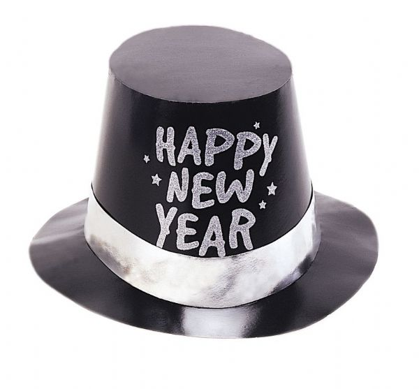 New Years Foil Black Glitter Top Hat